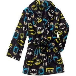 BATMAN Boy's Size 8 OR 10/12 Fleece Bath Robe, Black Print Bathrobe