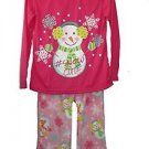 Girl's Size 7/8 Pink Fleece Pajama Pants Snowman Cute PJ Top Set