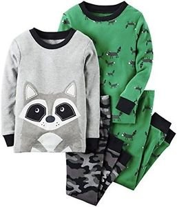 CARTER'S Boy's Size 3T, 4T OR 5T RACCOON Camo 4-Piece Pajama Set