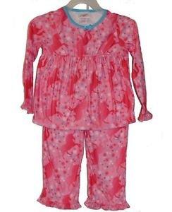 Girl's Size 4, 5/6 OR 6X Pink Unicorn and Star Print Flannel Pajama Set