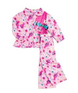 Girl's Size 4T Trolls Polly and Floral Pink Flannel Coat Pajama Set