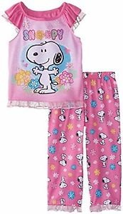 PEANUTS SNOOPY Girl's Size 4T Pink Floral Short-Sleeved Pajama Set