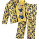 DISNEY DESPICABLE ME MINIONS Boy's Size 6 Yellow Graphic Flannel Coat Pajama Set