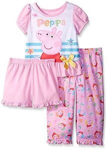 PEPPA PIG Girl's Size 4T 3-Piece Floral Hearts Pajama Set