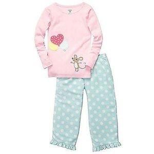 CARTER'S Girl's Size 3T Mouse Pajama Micro Fleece Pants Set