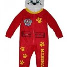 Paw Patrol Boy's Size 6/7 MARSHALL Fleece Hooded Costume Pajama Sleeper