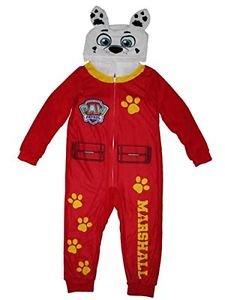 Paw Patrol Boy's Size 6/7 MARSHALL Fleece Hooded Costume Pajama Sleeper