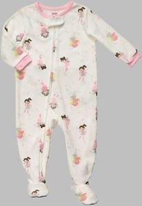CARTER'S Girl's Size 3T White FAIRY Micro-Fleece Footed Pajama Sleeper