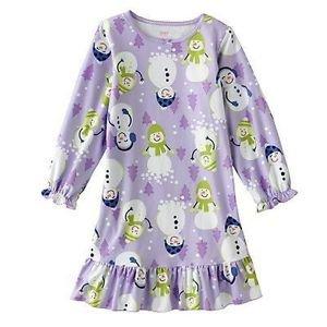 CARTER'S Girl's Size 4/5 Christmas Snowman Fleece Nightgown, Gown