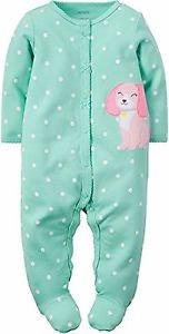 Carter's Baby Girl's Newborn Mint Green Puppy Dot Pajama Sleeper, Footie