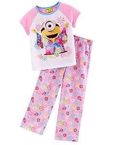DESPICABLE ME Girl's Size 6, 8 OR 10 Tie-Dye Hippie Minion Floral Pajama Set