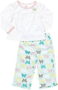 Carter's Girl's Size 3T OR 5T Pink Dots Knit, Lace Butterfly Pajama Set