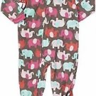CARTER'S Girl's Size 5T ELEPHANT Fleece Footed Pajama Sleeper,