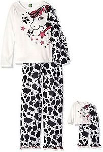 """DOLLIE & ME Girl's Size 4, 6, 8 OR 10 Horse Pony Pajama Set, With 18"""" Doll Gown,"""