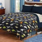 Children's Twin/Full Navy Dinosaur Print Plush Fleece Blanket