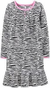 CARTER'S Girl's Size 2-3 Zebra Print Fleece Nightgown, Gown