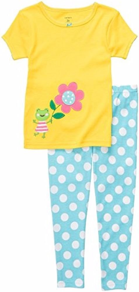 CARTER'S Girl's Size 3T Yellow Frog, Flowers and Dot Spring Pajama Pants Set