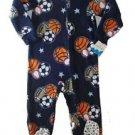 Boy's Size 4 Blue SPORTS Print Fleece Footed Blanket Pajama Sleeper
