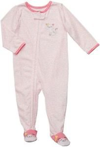 CARTER'S Girl's Size 4T Pink Kitty Cheetah Footed Pajama Sleeper