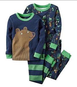 CARTER'S Boy's 3T BEAR CAMPING WOODLAND 4-Piece Pajama Set