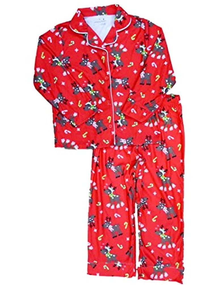 Girl's Size 4 OR 6 Red Holiday Christmas Reindeer Flannel Pajama Set