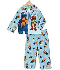 Boy's Winter 2T OR 4T ELMO and COOKIE MONSTER Flannel Pajama Set with DVD