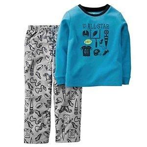 CARTER'S Boy's Size 6 Blue MR. ALL-STAR Sports Fleece Pajama Set
