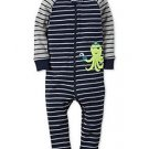 dBoy's Size 3T, 4T OR 5T Striped Cotton Pirate OCTOPUS Footless Pajama Sleeper