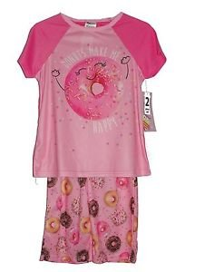 Girl's Size 6/6X OR 7/8 Pink Satin' Donuts Make Me Happy' Pajama Pants Set