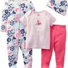 Carter's Baby Girls' Size 6 OR 9 Months Floral Fox 4 Piece Layette Set