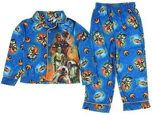 STAR WARS Boy's Size 8 OR 10/12 Character Flannel Coat Pajama Set,