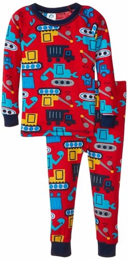 Toddler Boy's Size 3T Construction Vehicles Waffle Thermal Pajama Set
