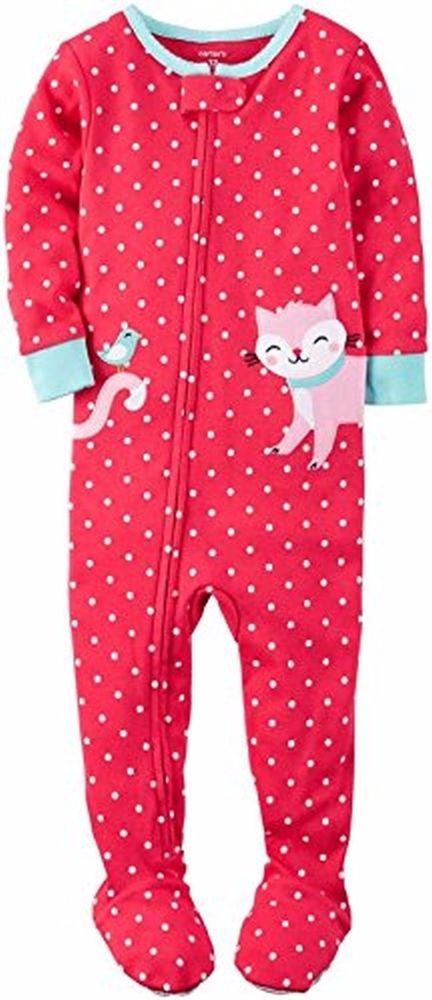 CARTER'S Girl's 3T, 4T OR 5T Cotton Kitty Cat Dot Footed Pajama Sleeper