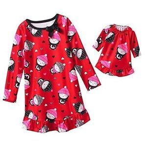 Girl's Size 4 OR 6 Flannel Winter Penguin Red Nightgown with Matching Doll Gown
