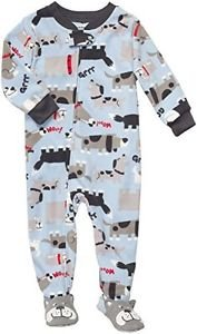 Boy's Size 4T Puppy Dog Blue Fleece Footed Pajama Sleeper