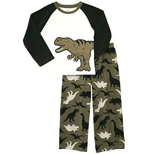 CARTER'S Boy's Size 4 Green DINOSAUR Fleece Pajama Set