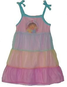 NICKELODEON Girl's Size 2/3 DORA Tulle Tiered Nightgown