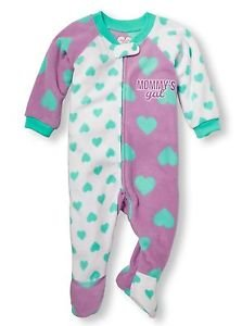 Toddler Girl's Size 3T MOMMY'S GAL Hearts Fleece Footed Pajama Sleeper, PJ's