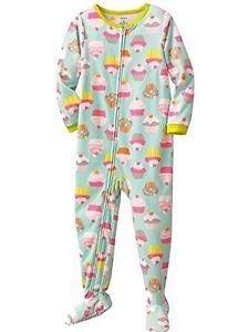 CARTER'S Girl's Size 4T Fleece Aqua Cupcake Pajama Sleeper,