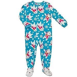 Carter's Girl's 5T Blue Holiday Polar Bear Fleece Blanket Pajama Sleeper