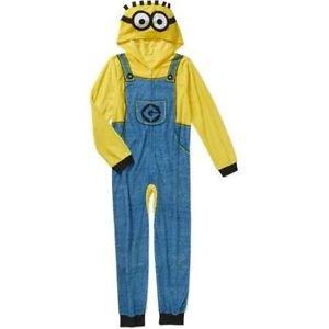 DESPICABLE ME Boy's Size 6/7 Fleece Hooded Minion Pajama Sleeper