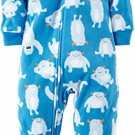 Carter's Boy's 3T Blue Snow Monster Fleece Footed Pajama Sleeper
