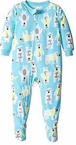 Carter's Boy's Size 3T, 4T OR Fleece Blue Winter Polar Bear Pajama Sleeper