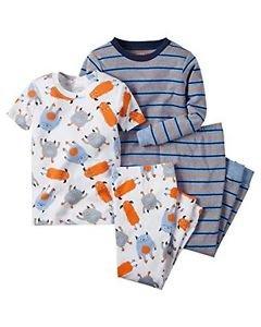 CARTER'S Boy's Size 4T 4-Piece Striped Monster Themed Pajama Set
