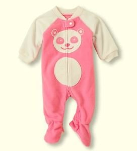 Toddler Girl's Size 3T Pink PANDA Fleece Footed Pajama Sleeper, PJ's