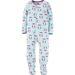 Girl's 5T Fleece Purple Owl Print Footed Pajama Sleeper