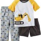 CARTER'S Boy's Size 7 OR 8 Construction 3-Piece Pajama Pants, Tee, Shirt Set