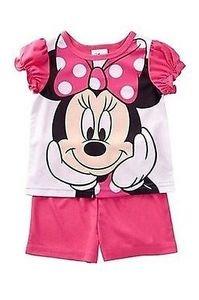 DISNEY MINNIE MOUSE Size 2T PINK Satin Pajama Shorts Set
