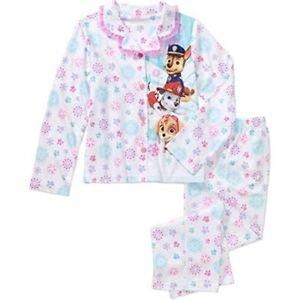 Paw Patrol Girls 6/6X 2 Piece Coat-Style Flannel Pajama Set