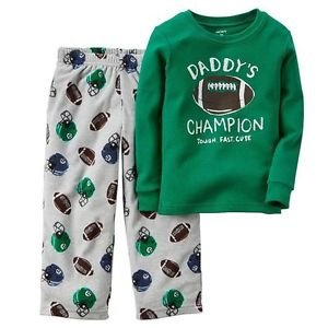 Boy's Size 4, 7 OR 8 Daddy's Champion Football Cotton Pajama Top, Fleece Pants